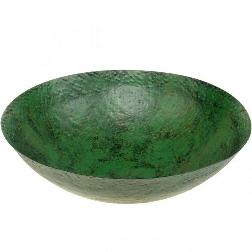 Deko Schale groß Metall Grün Vintage Tischdeko Ø42cm