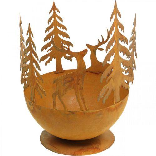 Metallschale mit Rehen, Walddeko für den Advent, Deko-Gefäß Edelrost Ø25cm H29cm