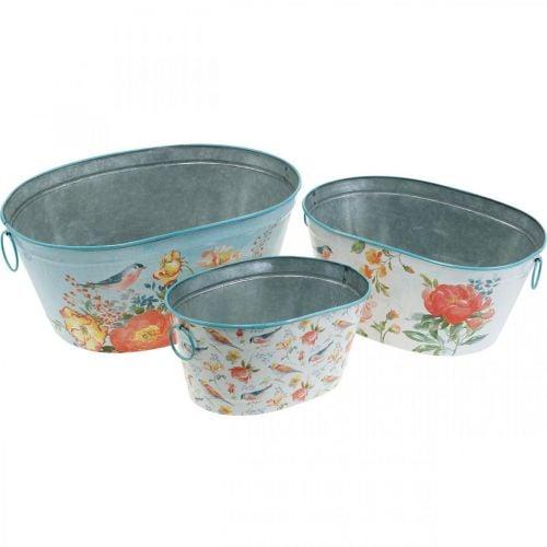 Pflanzschalen, Frühling, Pflanzkübel Blumen/Vögel, Metallgefäß oval L39/31/24,5cm 3er-Set