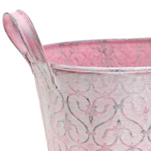 Pflanzgefäß Zinkwanne mit Dekor Rosa 22,5cm x 11,5cm H10,5cm