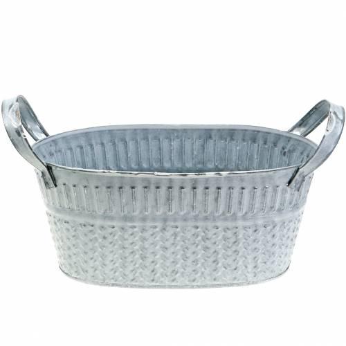 Zinkschale Oval mit Flechtmuster Grau, Weiß gewaschen 25cm H11cm