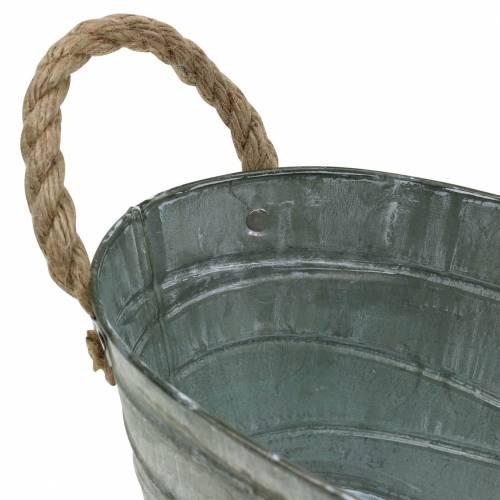 Zinkschale Wickelmuster mit Seilgriffen Oval Weiß gewaschen 27,5×16,5cm H12,5cm