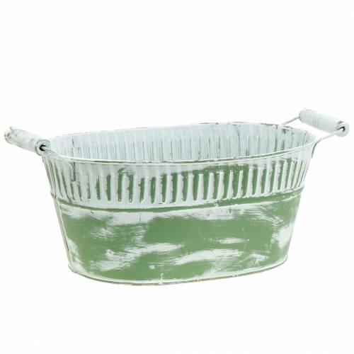 Pflanzschale oval Grün weiß gewaschen 28cm x 17cm H12cm