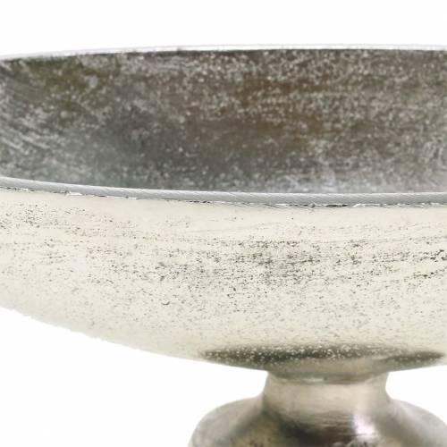 Schale oval mit Fuß Silbern Metall 20,5cm H7cm