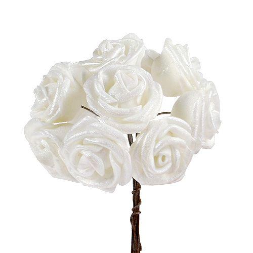 Schaumrosen Weiß mit Perlmutt Ø2,5cm 120St