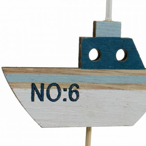 Dekostecker Schiff Holz Weiß Blau Natur 8cm H37cm 24St