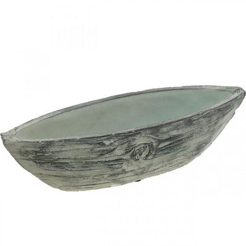 Pflanzschale oval Beton Schiffchen Holz-Design 37×11,5cm H10cm