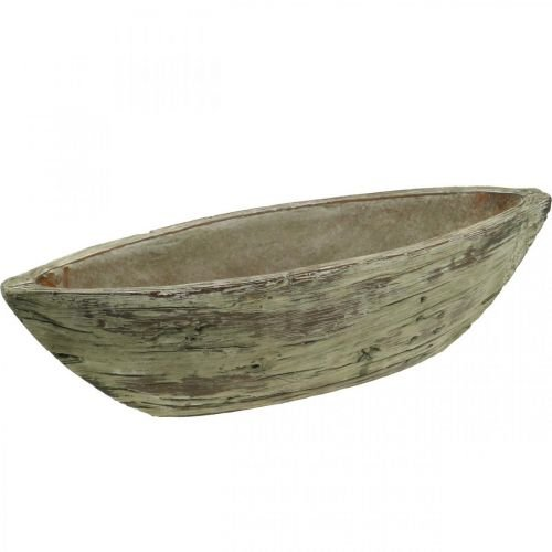 Pflanzschale oval Beton Holz Look Hellbraun 37×11,5cm H10cm