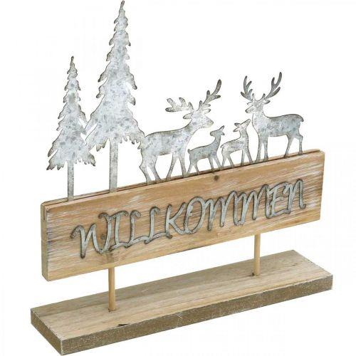 Silhouette mit Rehen, Herbstdeko zum Stellen, Willkommensschild Wald-Diorama, Weihnachten H31cm B28,5cm