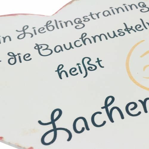 """Deko-Schild Herz mit Spruch """"Mein Lieblingstraining ..."""" 31x28cm"""