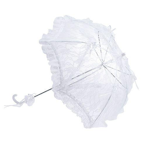 Schirm mit Spitze Weiß Ø60cm L80,5cm