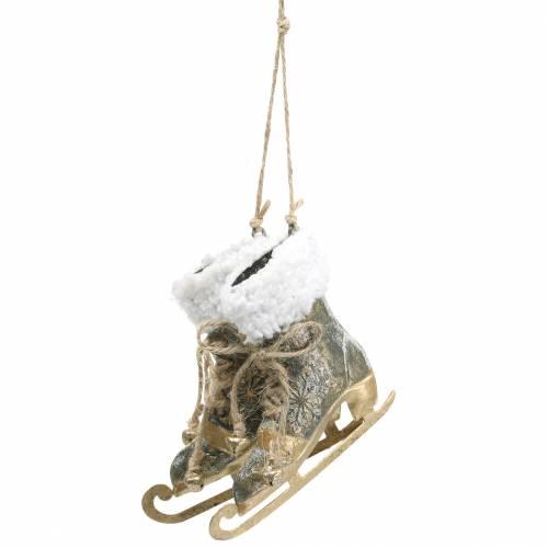 Schlittschuhe zum Hängen für den Weihnachtsbaum Golden, Weiß 11×10cm