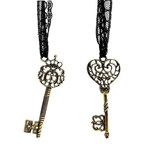 Schlüssel zum Hängen 7cm Gold, Antik 2 St