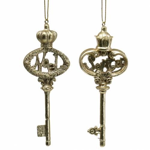 Christbaumschmuck Schlüssel mit Glimmer Gold 13cm 2St