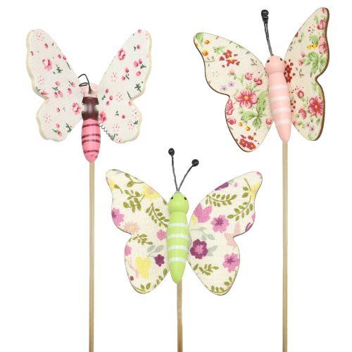 Feder Schmetterlinge am Draht rot Mix 12 Stück Sommer Frühlings Gestecke