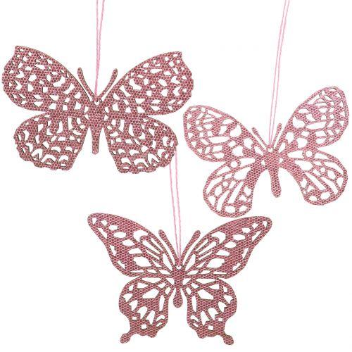 Dekohänger Schmetterling Pink Glitter10cm 6St