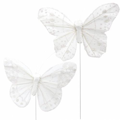 Federschmetterling am Draht Weiß mit Glitzer 10cm 12St