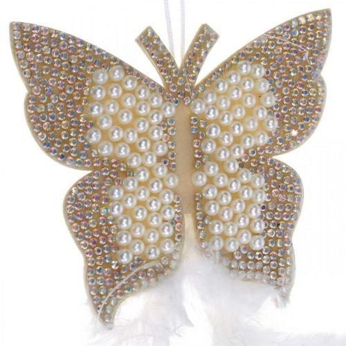 Filz Schmetterling zum Hängen Creme Hochzeitsdeko 16cm