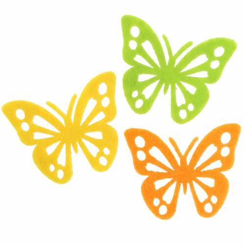 Filzschmetterling Tischdekoration Gelb Grün Orange Sortiert 3,5x4,5cm 54 Stück