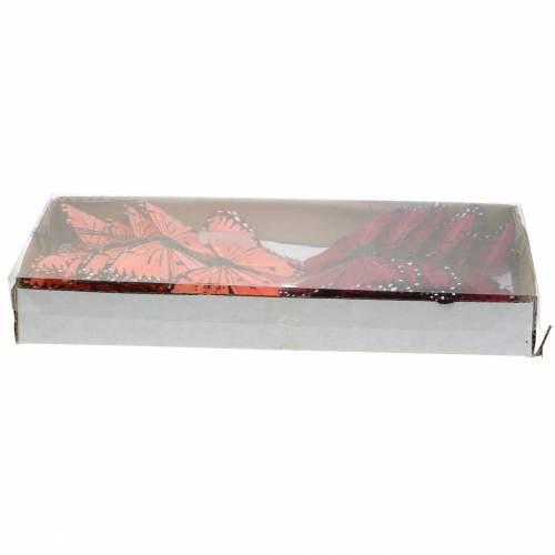Federschmetterling mit Draht Farbe Lachs und Lila 10cm 12 St
