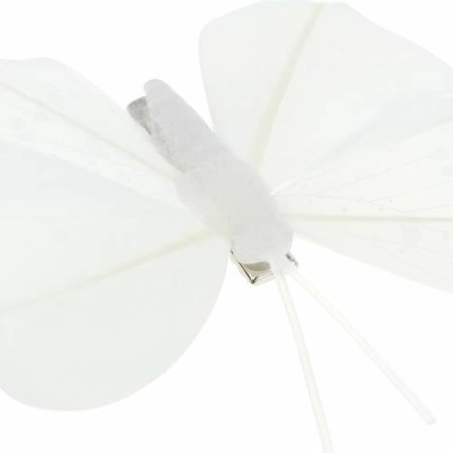 Federschmetterling auf Clip Weiß 7-8cm 8St