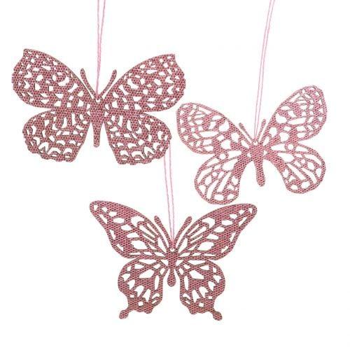 Dekohänger Schmetterling Pink Glitter 8cm 12St