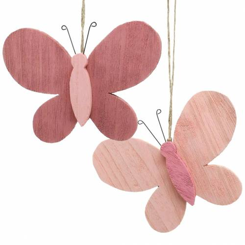 Schmetterling zum Hängen Holz Rosa 13cm x 22cm 2St