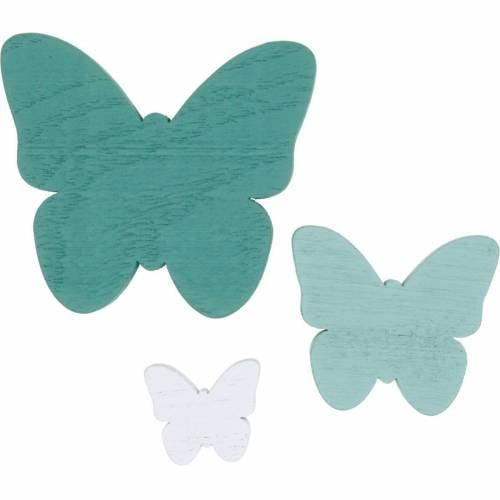 Schmetterlinge zum Streuen Grün, Mint, Weiß Holz Streudeko 29St
