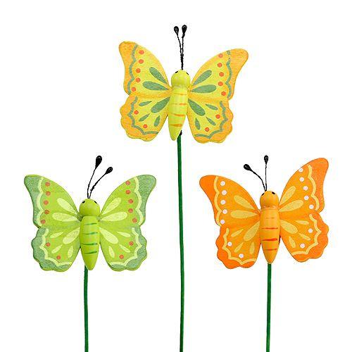 Schmetterling aus Holz am Stab sort. 6,5cm L25cm 18St