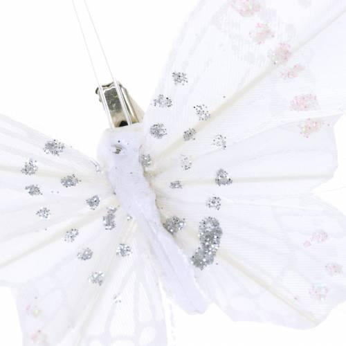 Feder Schmetterling auf Clip Weiß 10cm 12 St