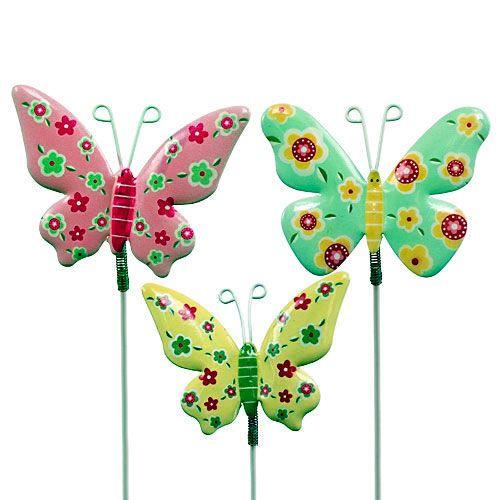 Schmetterlinge mit Draht Blech bunt 6cmx5cm L24cm