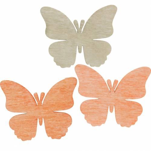 Schmetterlinge zum Streuen Deko-Schmetterling Holz Orange, Aprikose, Braun 72St