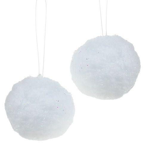 Schneeball mit Glimmer 8cm 4St