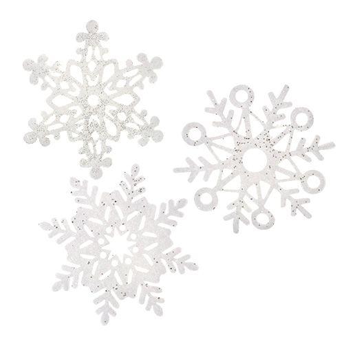 Schneeflocke Weiß mit Glimmer sort. 10cm 12St preiswert online kaufen