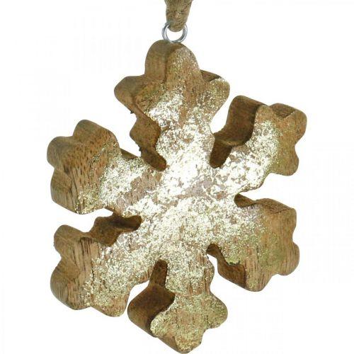Schneeflocke Mangoholz Natur, Golden Schneekristall  Ø10cm 6St