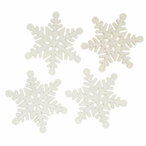 Streudeko Schneeflocke Glitzer Weiß 5cm 48St