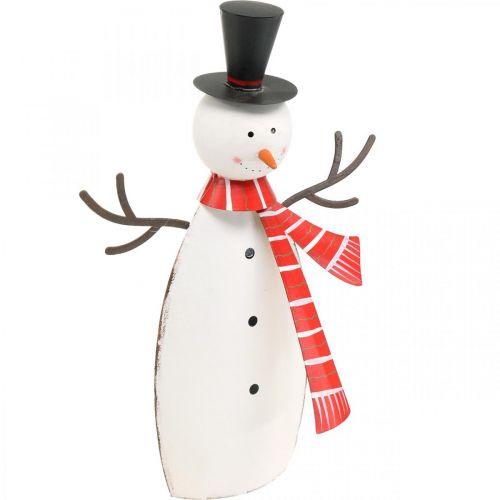Weihnachtsdeko, Schneemann mit Schal, Metalldeko für den Winter H33cm