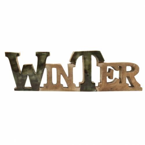 """Schriftzug """"Winter"""" Glasiert Natur, Beige Mangoholz 11,5 × 37,5cm"""