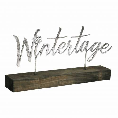 """Weihnachtsdeko """"Wintertage"""" auf Sockel Silbern Metall, Holz 29×5cm H14,5cm"""