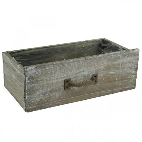 Pflanzkasten Schublade Holz Shabby Chic Weiß gewaschen 25x13x9cm