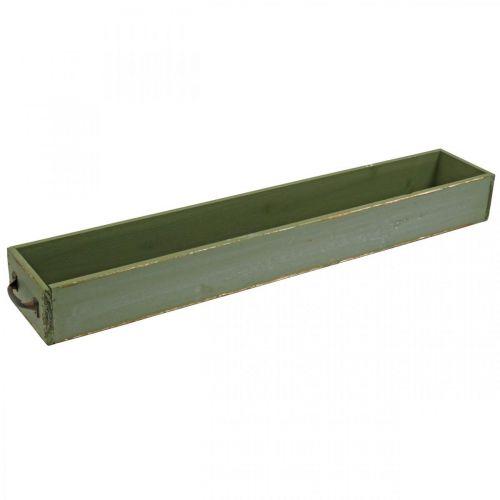 Deko Schublade Vintage Look Holz Tablett Shabby Grün 65×11×7cm