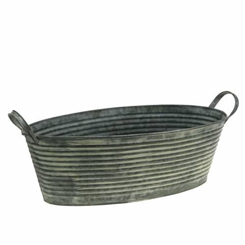 Zinkschale mit Griffen Oval Gestreift Grau, Creme gewaschen 39,5x18cm H14cm