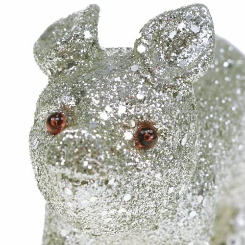 Deko Schwein Glitter Silber 10cm 8St