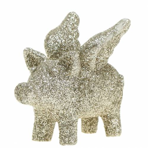 Deko Schwein mit Flügeln Gold Glimmer 6cm