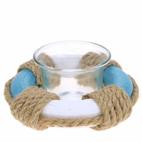 Nautische Deko Windlicht Glas mit Rettungsring Blau, Weiß Ø12cm