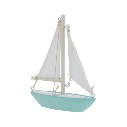 Segelboot zum Stellen 14cm x 15,5cm Blau-Weiß