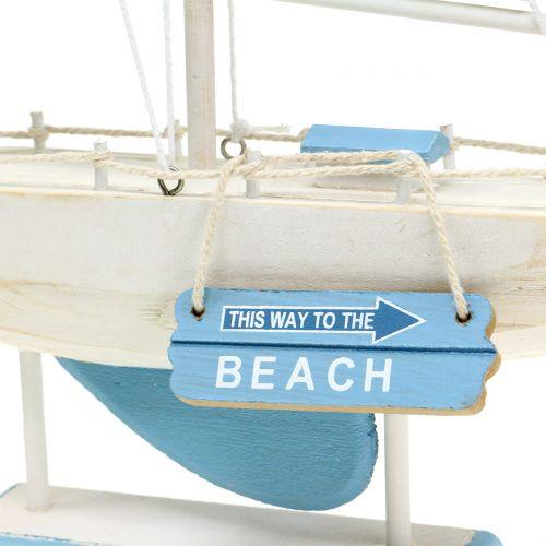 Deko Segelboot aus Holz Blau, Weiß H41,5cm