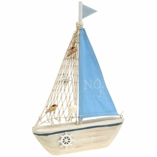 Deko-Segelboot Holz Blau Weiß Natur 20x4cm H30cm