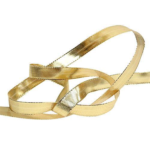 Geschenkband Gold mit Drahtkante 15mm 25m
