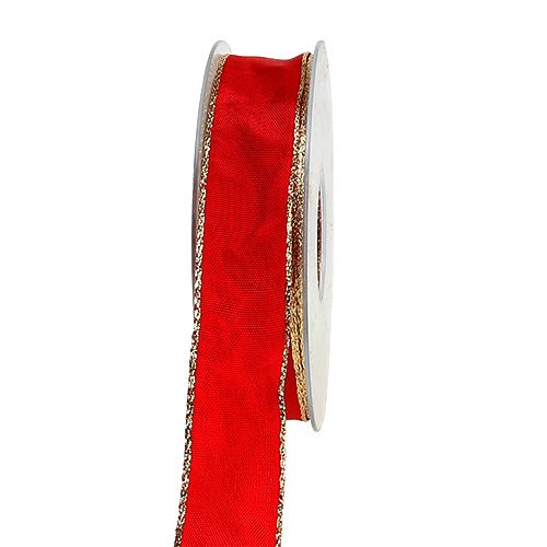 Seidenband Rot mit Goldkante 25mm 25m